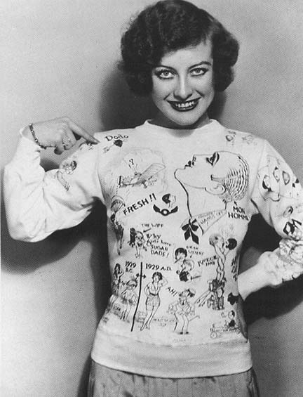 1929. With her handmade 'Dodo' sweater.