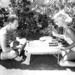 July 1931. Backgammon at home with Doug, Jr.