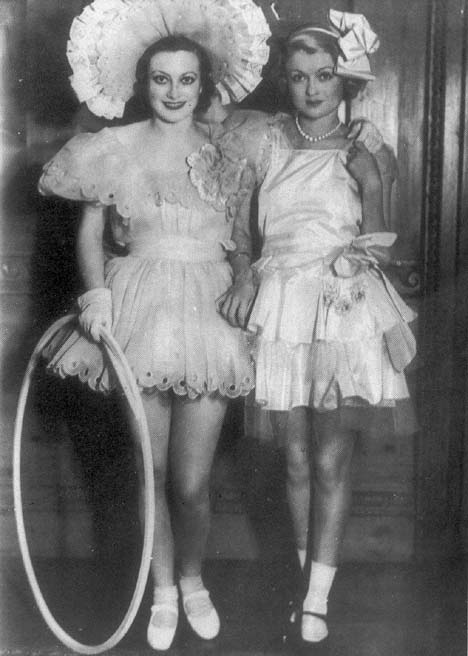Circa 1932, at a costume party with Constance Bennett.