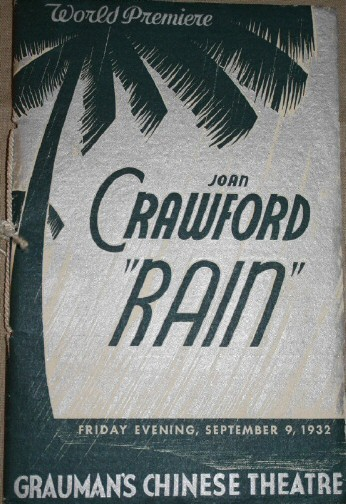 Program from Grauman's World Premiere of 'Rain.' Click to see more pages from the program.