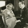 On the set with Franchot Tone and director Leonard.