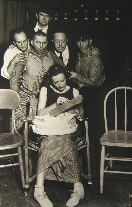 1933. On the 'Dancing Lady' set with the Three Stooges.