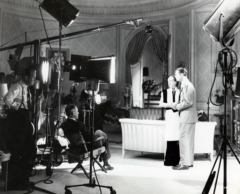 1934. Filming 'Forsaking All Others.'