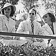 July 23, 1936. Barbara Stanwyck, Franchot Tone, and Joan at the Will Rogers polo field in Los Angeles.