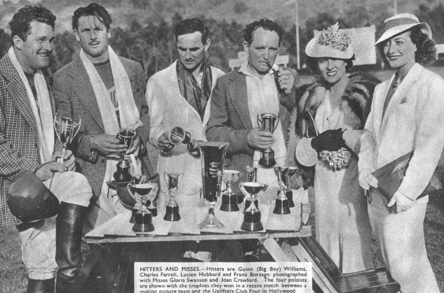 1936. From left: Guinn Williams, Charles Farrell, Lucien Hubbard, director Frank Borzage, Gloria Swanson, Joan.