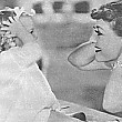 1935. On the set of 'No More Ladies,' with niece Joan LeSueur.