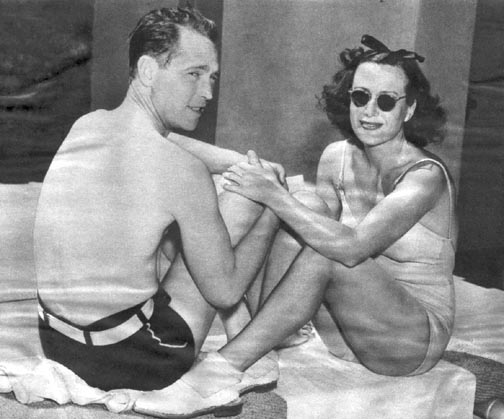Circa 1937, at home with husband Franchot Tone.