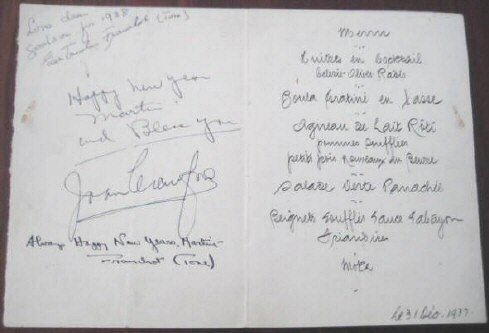 New Year's Eve 1937 menu from NYC's The Colony restaurant. Signed by Joan, Franchot, and Franchot's mother.