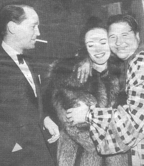 Oct. 28, 1937. With husband Franchot Tone and Jack Oakie.