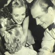 On the set with Melvyn Douglas and niece Joanie.