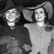 April 1939 after divorcing Franchot Tone. Companion might be former sis-in-law Kasha Haroldi. (Photo courtesy of the LA Herald-Examiner files.)