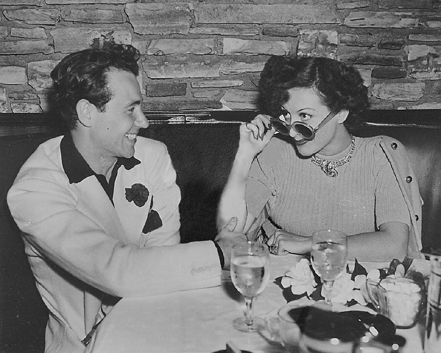 June 1939. With writer/lover Charles Martin at Cafe LaMaze. (Thanks to Tommy for the photo-marks clean-up.)