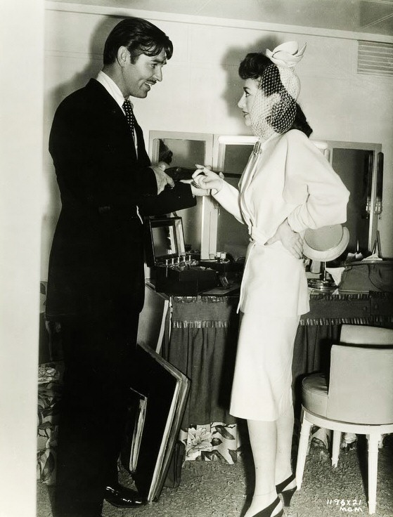 1941. On the set of 'When Ladies Meet' with Clark Gable.
