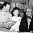 On the set with Herbert Marshall, Robert Taylor, Louis B. Mayer celebrating Taylor's birthday.
