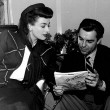 1943. On the set of 'Above Suspicion' with husband Phillip Terry.