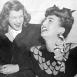 1943. Warners reception for Joan at NYC's Sherry-Netherland hotel. With Nancy Walker.