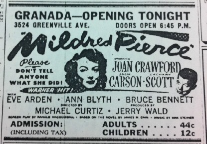 Ad for the brand-new Dallas Granada Theater, 1946.