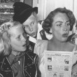 February 1950. Joan's directs Christina's Brentwood Brownie troop in an operetta of 'Hansel and Gretel.' From left: Christina, Carole Baker, Cynthia Shaw, Jill Marble.