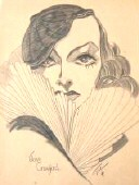 1950s sketch by 'Eve,' displayed at Hollywood's Roosevelt Hotel.