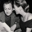 March 17, 1949. On the set of the Screen Guild Theater's 'Dark Victory' radio program with Robert Young.