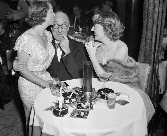4/29/51. With Ed Wynn and unknown at the Stork Club.
