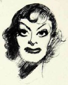 1951 by James Montgomery Flagg. One segment of a larger 7-movie-queen sketch.