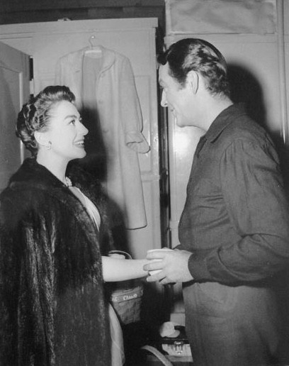 1953. On the set of 'All the Brothers Were Valiant' with Robert Taylor.