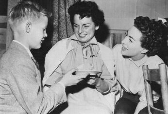 On the 'JG' set with son Chris and Mercedes McCambridge.