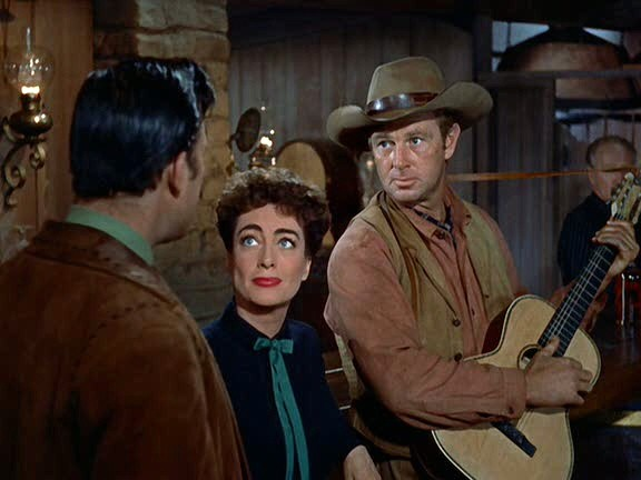 1954. Screen shot from 'Johnny Guitar' with Scott Brady and Sterling Hayden.