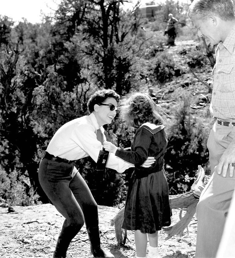 1954. On the set of 'Johnny Guitar' with daughter Cathy.