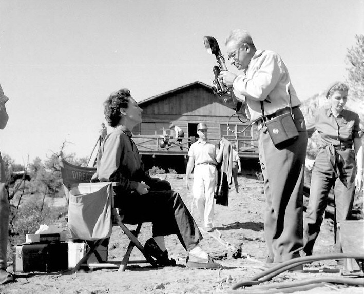 1954. On the set of 'Johnny Guitar.'