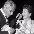 On the set with Jeff Chandler. (Thanks to Shane.)