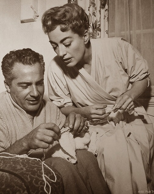 1957. On the set of 'Esther Costello' with Rossano Brazzi.