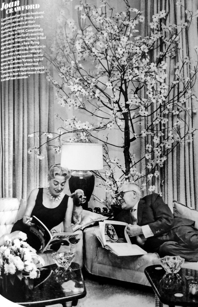 September 1958 at home with husband Al Steele. 2 East 70th Street, at Fifth Ave.