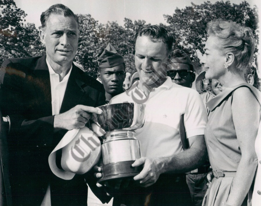 June 1958. With Arnold Palmer (center), winner of the Long Island Open. (Frank Shields at left.)