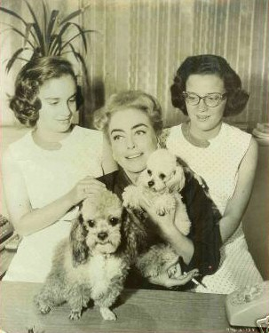 1959. On the set of 'Best of Everything' with twins and pups.