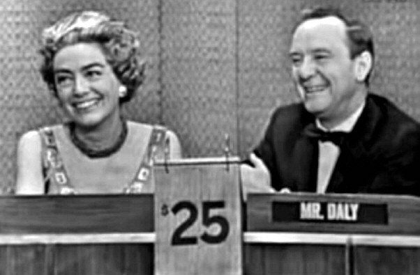 October 14, 1962. With host John Daly on 'What's My Line.' (Thanks to Bryan Johnson.)