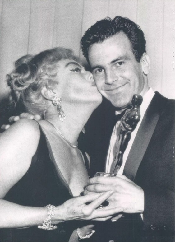 4/9/62. At the Oscars with Best Actor winner Maximilian Schell.