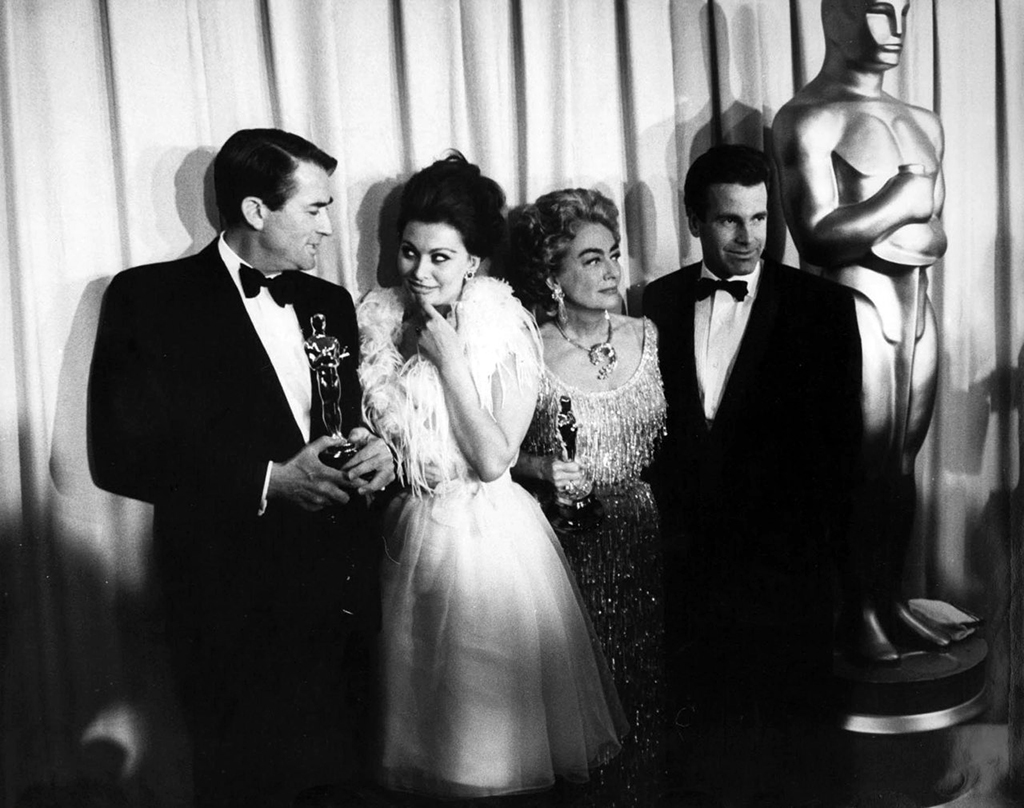 4/8/63. At the Oscars with Gregory Peck, Sophia Loren, and Maximilian Schell.
