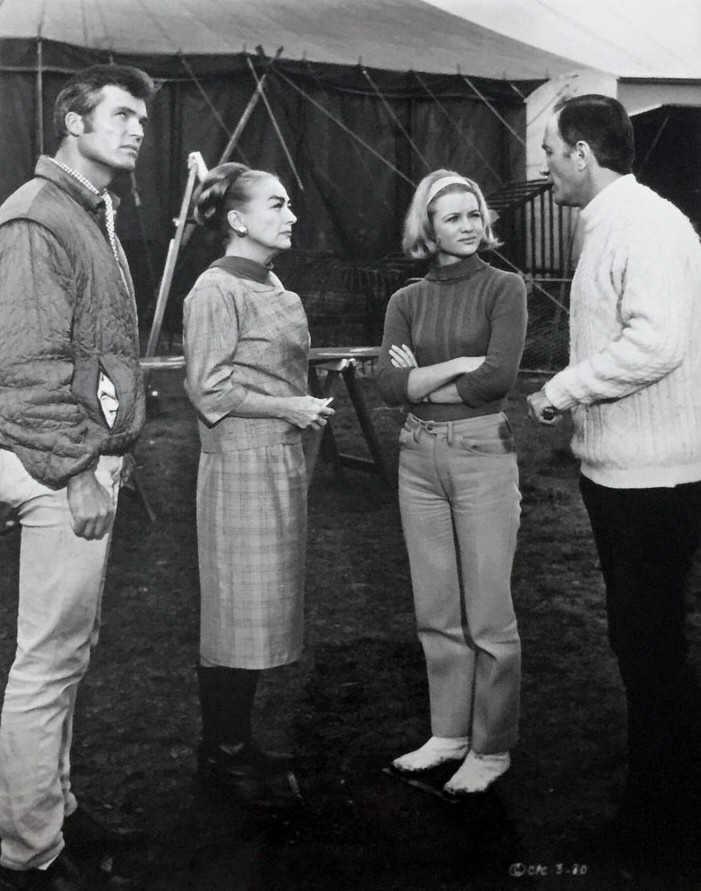 1968. On the set of 'Berserk' with Ty Hardin, Judy Geeson, and Peter Burton.
