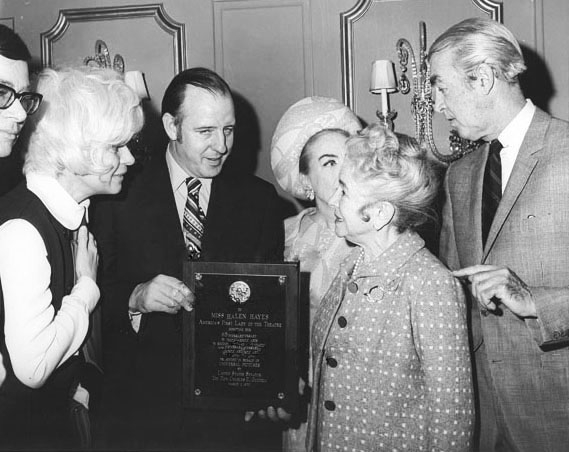 1968. With Carol Channing, Helen Hayes, James Stewart at event honoring Hayes. (Thanks to Bryan Johnson.)