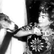 Joan and Lassie 1/14/71 at a Time Record Breakers Testimonial at NYC's Toots Shor's. Joan was honored for reigning the longest time as an active movie star.