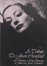 1977 Los Angeles Memorial Program cover: A Tribute to Joan Crawford: An Industry-Wide Celebration in Film and Fond Memories