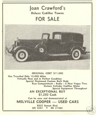 December 1938 ad for Joan's used Cadillac.