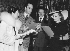 From left: Mrs. Walter Connelly, Basil Rathbone, Sam Jaffee.