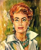 Painting by Lucerne Robert, 1960. Appeared on the 1962 cover of 'Portrait of Joan.'  Also: The black-and-white press-release photo, June 29, 1962.
