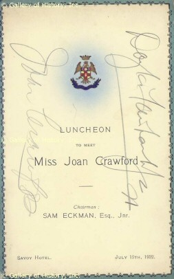 A menu (autographed by Joan and husband Doug) from a 7/15/32 luncheon at the Savoy Hotel in Joan's honor.