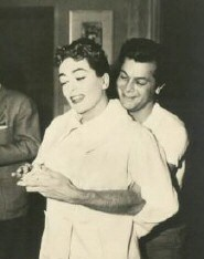 With Curtis on the set of 'Female on the Beach' in 1955.