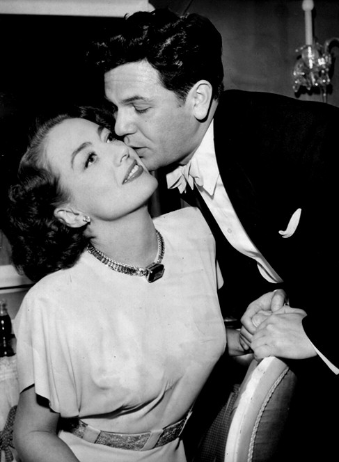 1946. On the 'Humoresque' set with John Garfield.