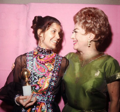 At the 2/5/71 Golden Globes with Tina Sinatra. (Thanks to Bryan Johnson.)